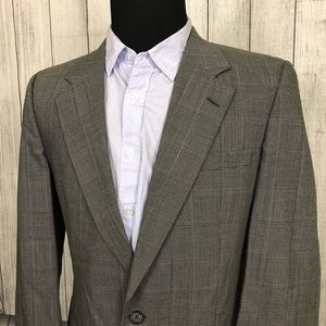 Vintage BURBERRY'S 42R Gray Glen Check Sports Coat